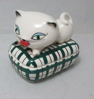 HOLT HOWARD COZY KITTEN TAPE MEASURE & PIN TRINKET BOX;  c1958