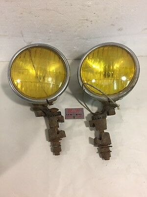 Vintage Pair Amber Fog Light General Electric GE Seelite with Mounting Brackets