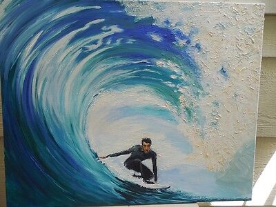 """Pipeline Rider Surfer Original Oil Painting On Canvas 30"""" X 24"""" Signed"""