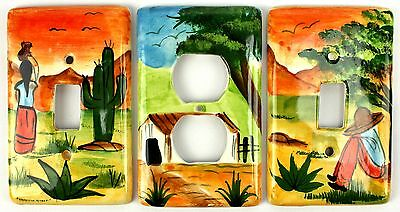 Vintage Painted Southwestern Mexico Ceramic Switch Plate & Outlet Cover Lot