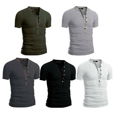 NEW Stylish Mens V Neck Short Sleeve Shirts Slim Fit T-Shirt Casual Muscle Tee
