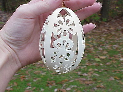REAL Hand Carved Goose Egg Easter Tree Decoration Ornament Gift Flowers