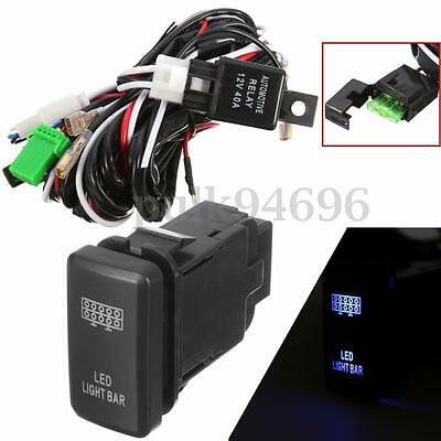 for TOYOTA  HILUX LED Light Bar Wiring Loom Harness 40A Switch Relay Kit 12V