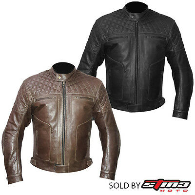 Leather Jacket Vintage Retro Style Motorcycle Motorbike CE Armoured Protection