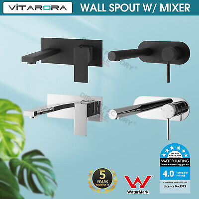 Square Black /Chrome Wall Basin Mixer Tap Sink Vanity Shower water Spout Faucet
