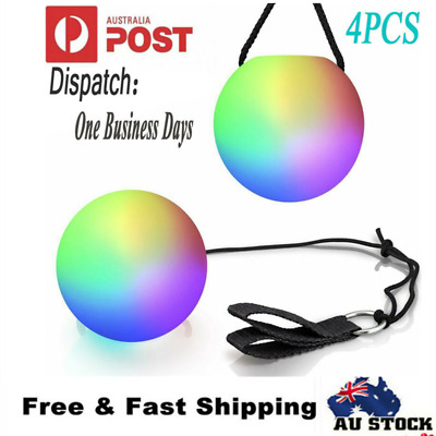 4 x LED Colorful Glow POI Thrown Balls Light Up For Belly Dance Level Hand Props