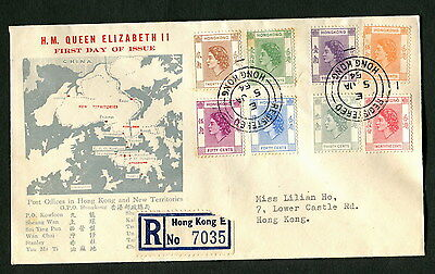 Hong Kong FDC 1954 definitive First day 5c-50c cover