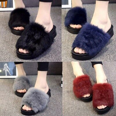 Winter Women Plushed Faux Fur Slippers Slides Platform Sandals Shoes