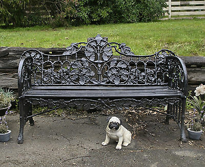 Antique French Style Ornate Solid Cast Iron Garden / Patio / Outdoor Bench Seat