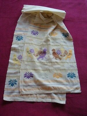 Antique Ottoman Turkish Long Towel Hand Woven cotton w/ Nice Color Floral Motifs