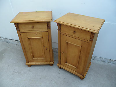 A Superbly Waxed Pair of Reclaimed Pine Bedside Cabinets