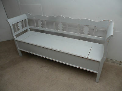 A Really Pretty Antique Pine Shabby Chic 3 Seater Light Grey Box Settle / Bench