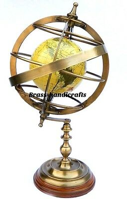 Antique Reproduction Brass Armillary Sphere Nautical Decor Globe World Globe 17""