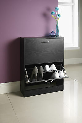 Wooden Shoe Storage Cabinet 2 Drawer Footwear Stand Rack Shoe Cabinet