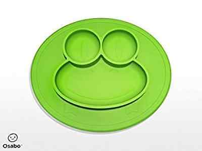 OSABO | Happy Frog Mat - One-piece silicone placemat + plate (Green) - Children