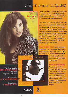 """1992 Alanis Morissette """"Now Is The Time"""" Record Album Canadian Print Advert"""