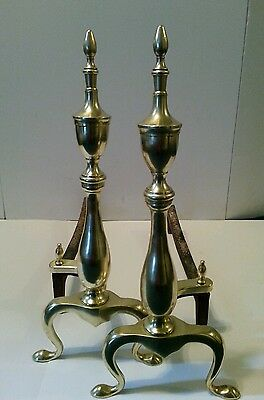 Vintage Brass & Cast Iron Fireplace Andirons Fire Dogs