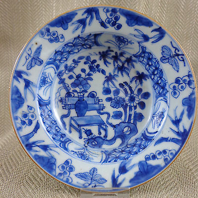Antique Chinese 18th 19th C Hand Painted Blue & White Porcelain Bowl Qianlong