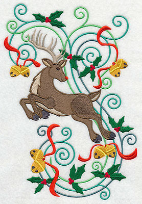 Embroidered Reindeer xmas flourish quilt block,sewing,,cushion panel, christmas