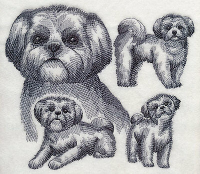 Embroidered shih tzu sketch quilt block,sewing,dog fabric,cushion panel, dogs