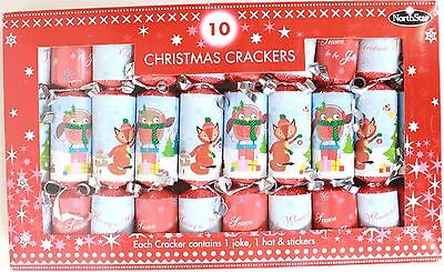 10 Christmas Crackers Fox And Robin Redbreast 18 x 3cm
