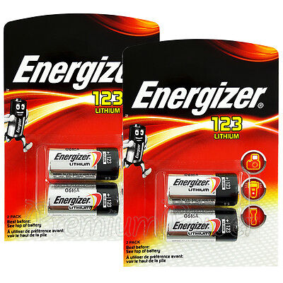 4 x Energizer Lithium CR123 batteries 3V 123A CR17345 EL123 Camera Pack of 2