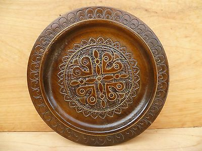 Vintage Old Timber German Decorative, Poker Work Platter, (B790)