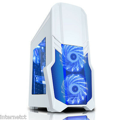 Cit G Force White Blue Light Up Led Usb 3.0 Pc Computer Case With Side Window