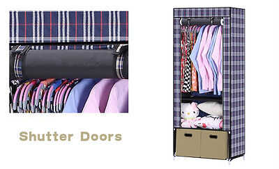 Portable Canvas Clothes Wardrobe Bedroom Closet Storage With drawers Shelves UK