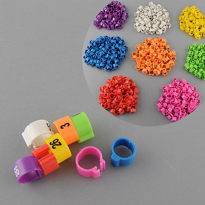 100Pcs Poultry Leg Bands Bird Parrot Chicks Duck Rings Clip 1-100 Numbered
