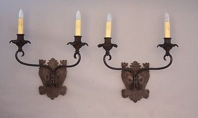 Pair 1920s Large Double Light Sconces w Dog Head Motif Spanish Revival (8495)