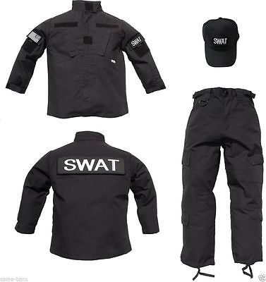 Kids 3 pc Trooper Black Tactical SWAT Replica Uniform Ripstop Pants Jacket Hat