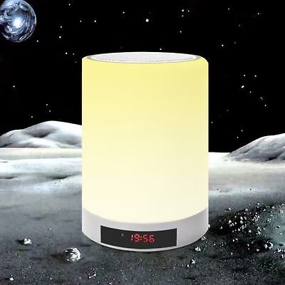 Bluetooth Wireless Mini Speaker Sound Box With Alarm Clock LED Table Touch Lamp