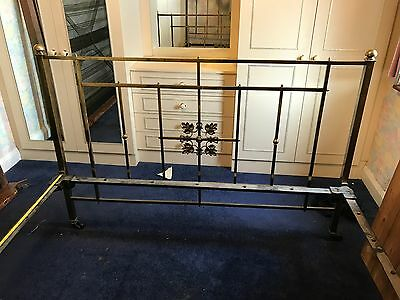 Antique Victorian cast iron & brass double bed with original 'chainmail' base