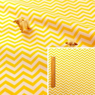 YELLOW Fat Quarter/FQ/Meter 100%Cotton Fabric FQ Stripe Chevron Sew Quilt Craft
