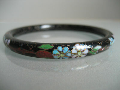 Vintage Asian Cloisonne Black With Colored Flowers  Bangle