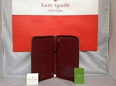 NWT Kate Spade Train Car Red Riverside Street Exotic Zip Travel Wallet Clutch