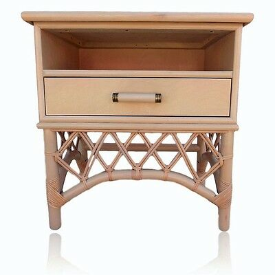 Vintage Ficks Reed Style Nightstand End Table Rattan Bamboo Hollywood Regency