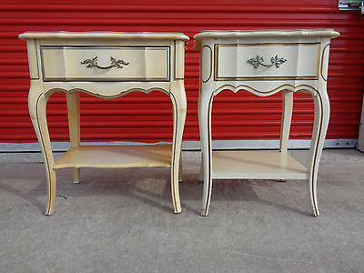 Vintage Set Of French Provincial 1 Drawer Petite Nightstands Accent End Tables