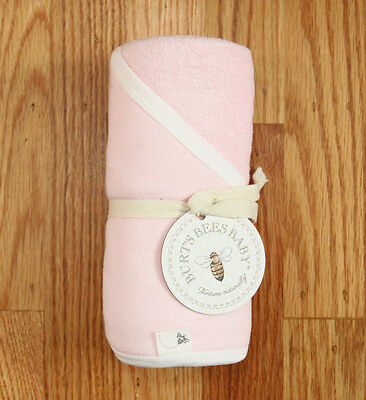 "Burt's Bees Baby Girl Single Ply Hooded Towel ~ Pink ~ 29"" x 29"" ~Organic Cotton"