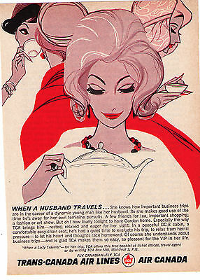 """Vintage1960's Air Canada """"When A Husband Travels"""" Vintage Print Advertisement"""