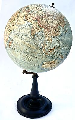 "1914's 16"" ANTIQUE FRENCH  GEOGRAPHIC  TERRESTRIAL GLOBE THOMAS"
