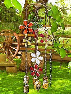 Enchanting Large New Flower Beads And Bells Chimes Hippie Mobile Boho Windchimes