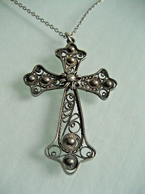 Antique / Vintage 835 Silver Filigree Cross Pendant With Chain