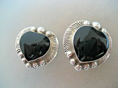 Vintage Taxco  Sterling Silver And Black Onyx Mexican Clip On Earrings