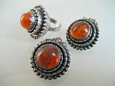 Vintage Modernist Sterling Silver & Amber Ring And Clip On Earring Set