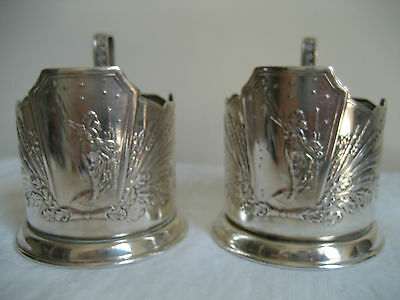 Vintage Russian Ussr Soviet Space Era Silver Plated Cup Holders