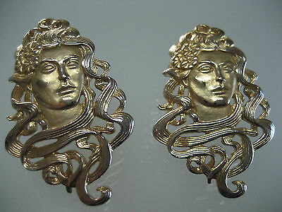 Vintage Lady Art Deco Jj Earrings 1988