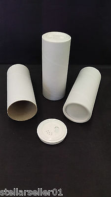 Cardboard Tubes Bottle White 1.875 in x 4.5 in w/ Sifter Pour Twist Top