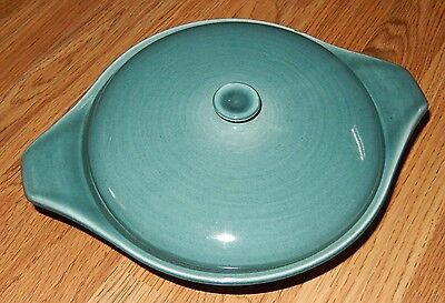 Russel Wright Mid Century Blue Green Covered Casserole Dish